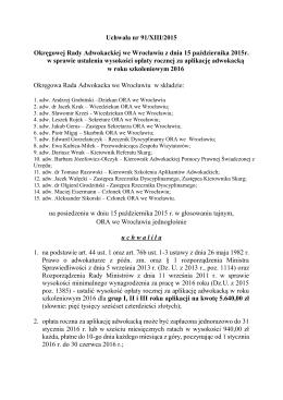 Uchwała nr 91-XIII-2015 w sprawie ustalenia wysokości opłaty