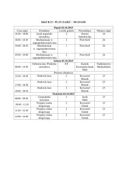 KKZ R.13 - PLAN ZAJĘĆ - III ZJAZD Piątek 02.10.2015 Czas zajęć