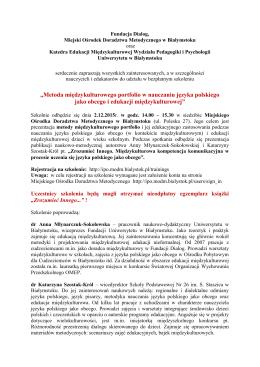 Więcej informacji - Wydział Pedagogiki i Psychologii