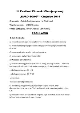 """III Festiwal Piosenki Obcojęzycznej """"EURO"""