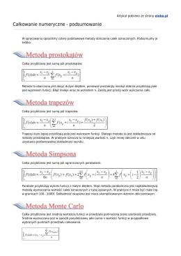 Całkowanie numeryczne