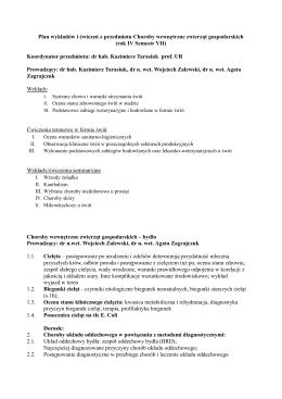 Plan wykładów i ćwiczeń z przedmiotu Choroby wewnętrzne