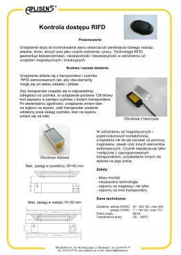 Karta katalogowa na Kontrolę dostępu RFID po zmianach