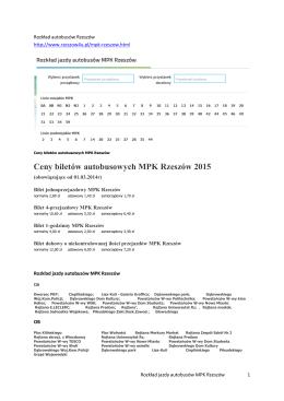 Ceny biletów autobusowych MPK Rzeszów 2015