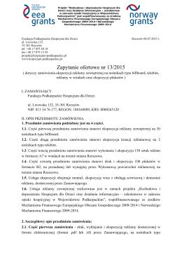 Zapytanie ofertowe nr 13/2015 - Podkarpackie Hospicjum dla Dzieci