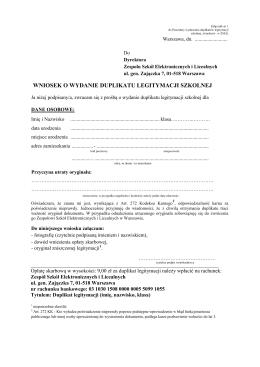 wniosek o wydanie duplikatu legitymacji szkolnej