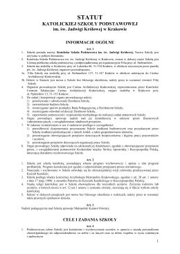 Statut Katolickiej Szkoły Podstawowej im. św. Jadwigi Królowej w