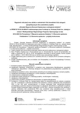 Regulamin rekrutacji oraz udziału w szkoleniach i/lub doradztwie i