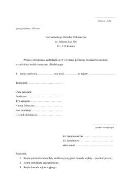 133 Kraków Proszę o przepisanie certyfikatu ATP i wydanie pol