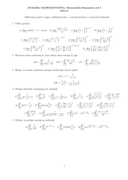 ANALIZA MATEMATYCZNA, Matematyka Finansowa rok I Lista 6
