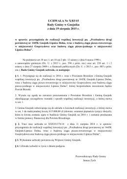 UCHWAŁA Nr X/83/15 Rady Gminy w Gnojniku z dnia 19 sierpnia
