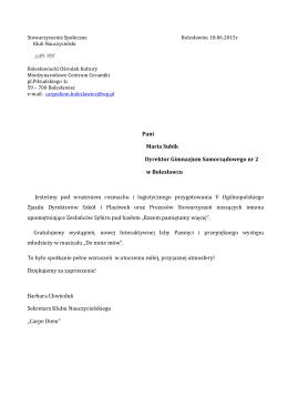 Pani Maria Subik Dyrektor Gimnazjum Samorządowego nr 2 w