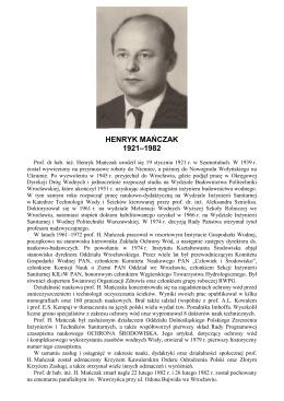 HENRYK MAŃCZAK 1921–1982 - Polskie Zrzeszenie Inżynierów i