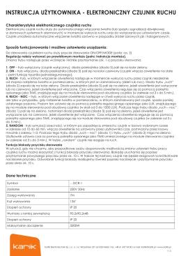 Instrukcja obsługi elektronicznego czujnika ruchu serii DECO