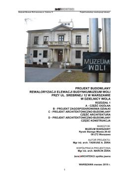 projekt budowlany rewaloryzacji elewacji budynkumuzeum woli przy