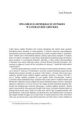 dwa oblicza demokracji ateńskiej w literaturze greckiej