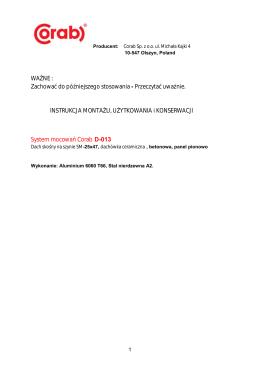 Instrukcja montażu D-013