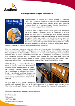 Blue Frog zawita do Shanghai Disney Resort!