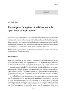 Alternatywne formy transferu i finansowania ryzyka w