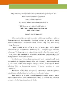 Sekcja Antropologii Historycznej Studenckiego Koła Naukowego