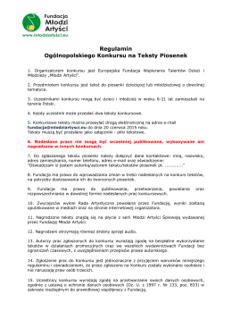 Regulamin Ogólnopolskiego Konkursu na Teksty Piosenek