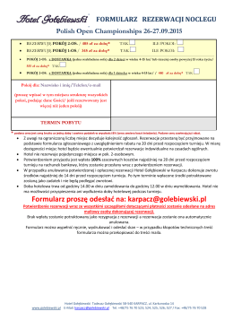 Formularz rezerwacji noclegu Hotel Gołębiewski