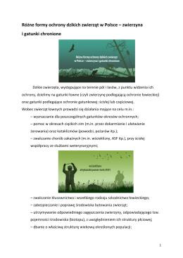 Różne formy ochrony dzikich zwierząt w Polsce