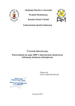 AM Szczecinie, chemia techniczna - Akademia Morska w Szczecinie
