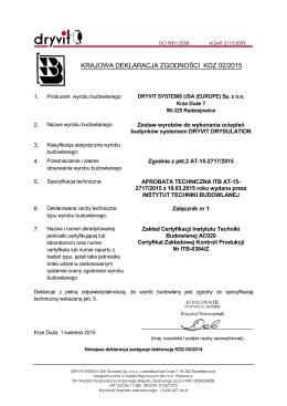 KRAJOWA DEKLARACJA ZGODNOŚCI KDZ 02/2015