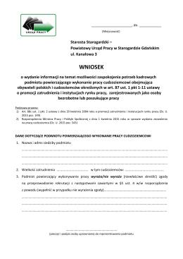 wniosek o wydanie INFORMACJI STAROSTY 2015