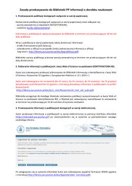 Zasady przekazywania do Biblioteki PP informacji o dorobku
