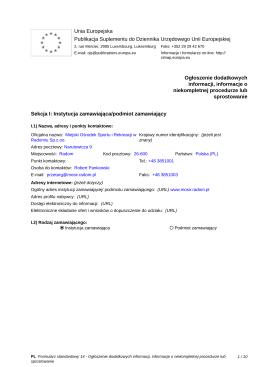 Ogłoszenie o zmianie ogłoszenia - Biuletyn Informacji Publicznej