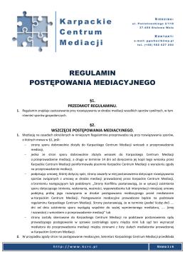 Regulamin Karpackiego Centrum Mediacji