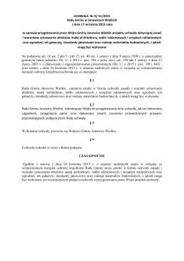 UCHWAŁA Nr X/ 51/2015 Rady Gminy w Janowicach Wielkich z