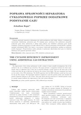 poprawa sprawności separatora cyklonowego poprzez dodatkowe