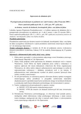 OAK.KCB.2621/40/15 Zaproszenie do składania ofert W