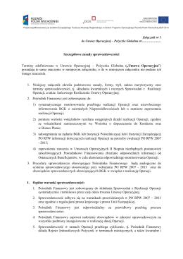 Załącznik nr 6 Szczegółowe Zasady Sprawozdawczości