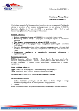 Polkowice, dnia 08.07.2015 r. Dyrektorzy, Wicedyrektorzy Placówek