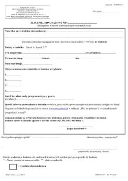 Data i godzina przyjęcia próbki - Powiatowa Stacja Sanitarno