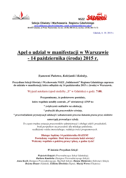 Apel o udział w manifestacji w Warszawie