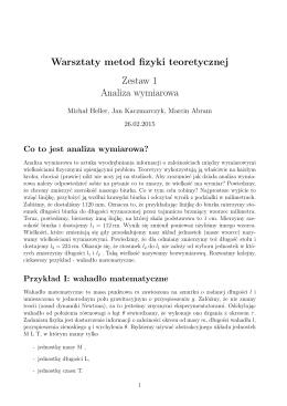 Warsztaty metod fizyki teoretycznej Zestaw 1 Analiza wymiarowa