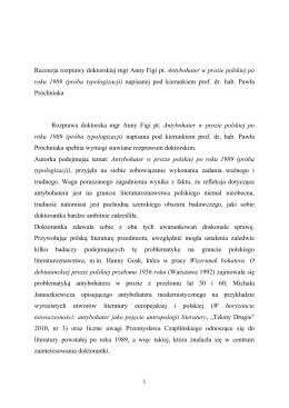 Recenzja rozprawy doktorskiej mgr Anny Figi pt. Antybohater w