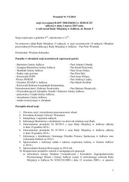 Protokol Nr VI z sesji z dnia 2 marca 2015 r