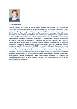 Dr Marta Czerwiec - Profil