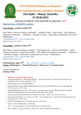 27-28.06.2015 Propozycje tras– Masyw Śnieżnika