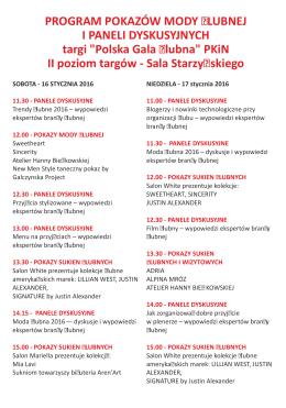 Program targów - Polska Gala Ślubna