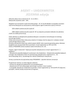 AGENT – UNDERWRITER JESIENNA edycja