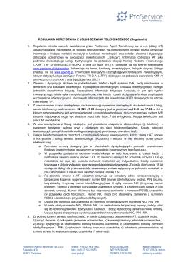 Regulamin korzystania z usług serwisu telefonicznego i IVR