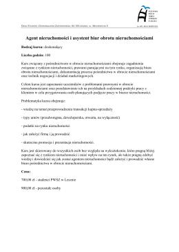 Kurs dla agentów nieruchomości i asystentów biur obrotu