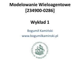 slajdy - Modelowanie Wieloagentowe